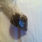 tiny bag filled with marijuana